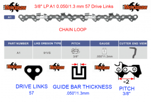 CHAIN SAW PITCH BAR AND LINK combo WITH TEXT AND LOGO 57 drive links 3 8 X 1.3